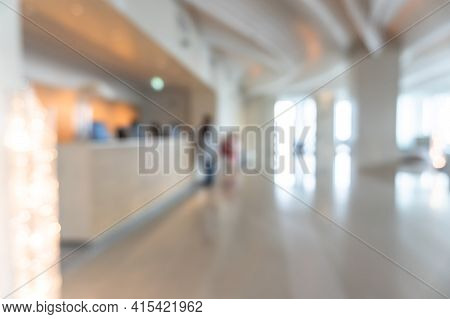 Blurred Hotel Or Office Building Lobby Blur Background Interior View Toward Reception Hall, Modern L