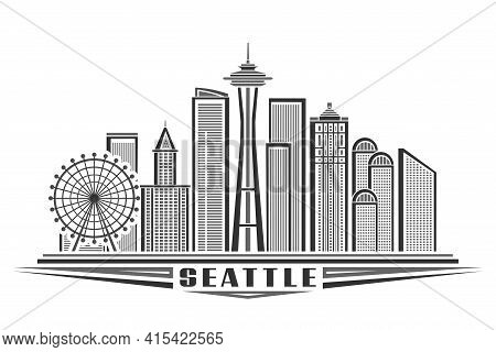 Vector Illustration Of Seattle, Monochrome Horizontal Poster With Outline Design Of Seattle City Sca