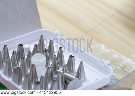 A Set Of Steel Tips Of Different Shapes For A Pastry Bag For Squeezing Cream Or Dough.