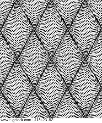 Seamless Op Art Diamonds Pattern With 3d Illusion Effect. Vector Illustration.