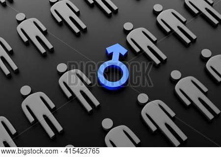 Male Gender Symbol Surrounded By Male Figures On A Dark Background. Concept Of Gender Equality, Gend