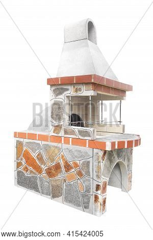 Small Barbecue Open Fireplace With Built-in Furnace For Cookout Food. Outdoor Bbq Grill. Open Summer