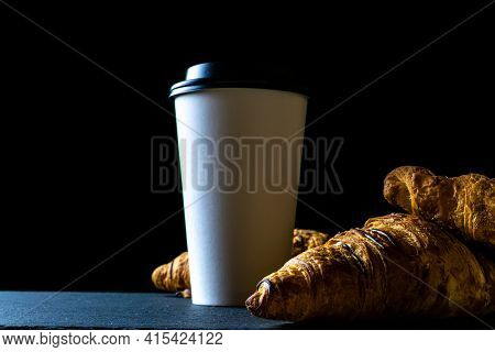 Croissant Background. French Breakfast Croissants, Fresh Pastry Bread With Paper Coffee Cup In Baker
