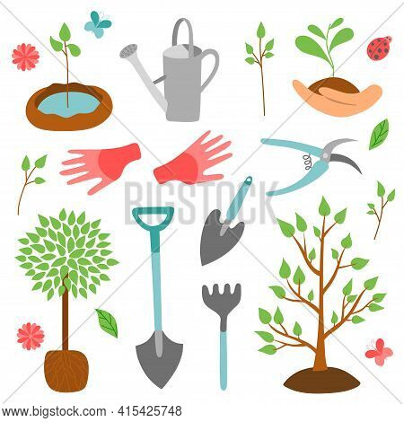 Hand Drawn Set Arbor Day In Style Flat. Graphics Sketch Trees, Garden Tools. Vector Illustration, Is