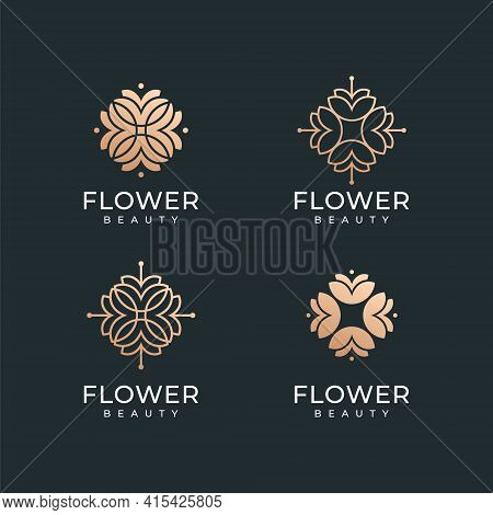 Set Of Luxury Spa Gold Flower Logo Design Vector Collection. Logo Can Be Used For Icon, Brand, Ident