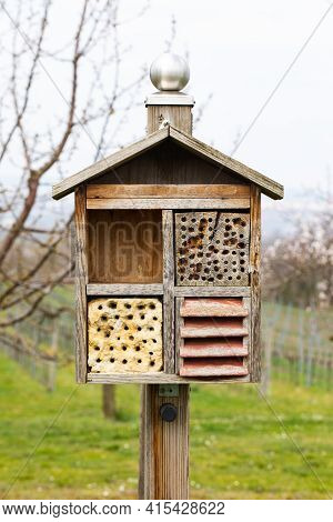 Insect Hotel House In The Free Nature And Garden. Dormitory For Bugs And Beetles To Protect The Envi