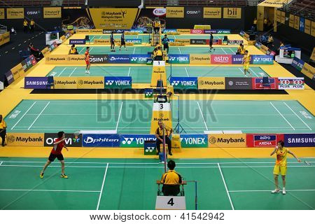 KUALA LUMPUR - JANUARY 15: Badminton players from all over the world compete at the WBF Super Series Maybank Malaysia Open 2013 tournament played in Kuala Lumpur, Malaysia on January 15, 2013.