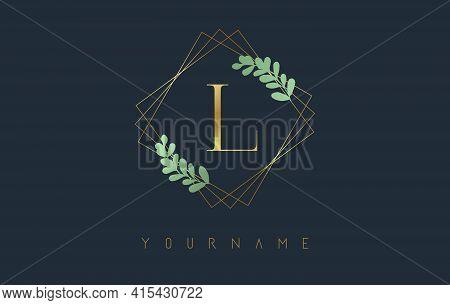 Golden Letter L Logo With Golden Square Frames And Green Leaf Design. Creative Vector Illustration W