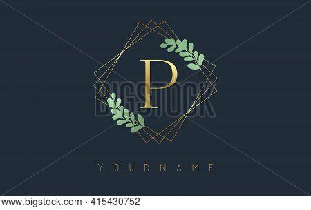 Golden Letter P Logo With Golden Square Frames And Green Leaf Design. Creative Vector Illustration W