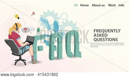 Faq, Vector Illustration, Landing Page Template For A Web Page Or App, A Girl With Headphones Sittin