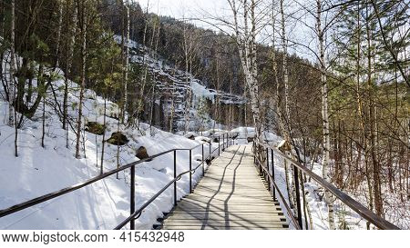 Wooden Walking Path, Eco-trail In The Winter Forest Winter Tourism