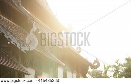 Sunlight On Wooden Antique Ancient Buddhist Church In Buddhism Temple