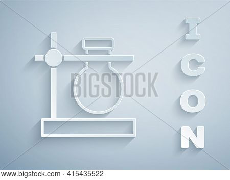 Paper Cut Glass Test Tube Flask On Stand Icon Isolated On Grey Background. Laboratory Equipment. Pap