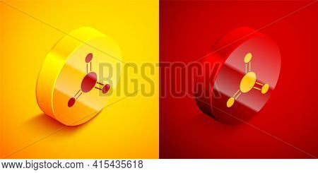 Isometric Molecule Icon Isolated On Orange And Red Background. Structure Of Molecules In Chemistry,