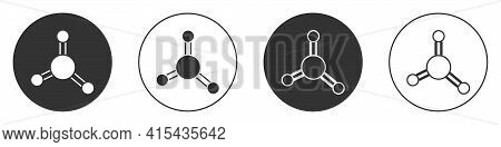 Black Molecule Icon Isolated On White Background. Structure Of Molecules In Chemistry, Science Teach
