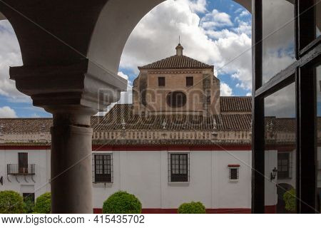 View Of The Tower Of The Nuestra Señora De Las Nieves Parish Church From The Olivares Town Hall.