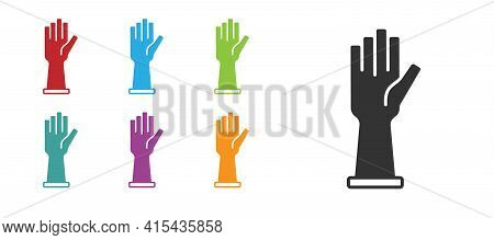 Black Medical Rubber Gloves Icon Isolated On White Background. Protective Rubber Gloves. Set Icons C