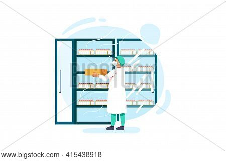 Medial Staff Distributing Vaccine Tray Inside The Freezer Illustration Concept. Can Use For Web Bann