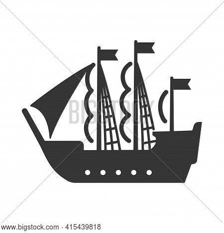Sailing Ship, Pirate Vessel Bold Black Silhouette Icon Isolated On White. Barque, Windjammer, Sailbo