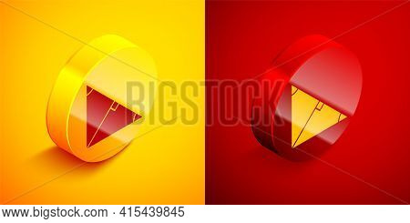 Isometric Angle Bisector Of A Triangle Icon Isolated On Orange And Red Background. Circle Button. Ve