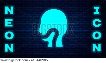 Glowing Neon Sore Throat Icon Isolated On Brick Wall Background. Pain In Throat. Flu, Grippe, Influe