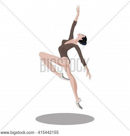 Vector Flexible Ballerina In Sport Bodysuit Dress, Jumping And Dancing On Pointe Shoes. Female Beaut