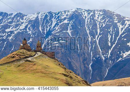 Gergeti Trinity Church (tsminda Sameba), Holy Trinity Church Near The Village Of Gergeti In Caucasia