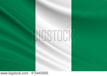 Flag Of Nigeria. Fabric Texture Of The Flag Of Nigeria.