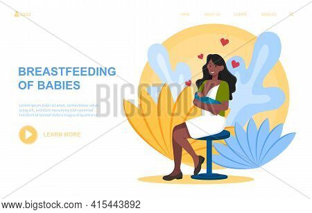 Mother Feeding A Baby With Breast With Nature. Maternity Leave, Happy Motherhood, Natural Feeding Co