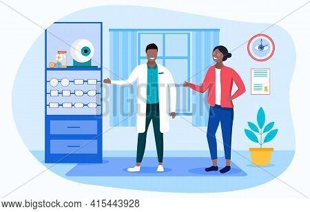 Medical Insurance Concept. Opticians Shop Advertising. Treatment Drop. Ophthalmologist Choose Eyegla