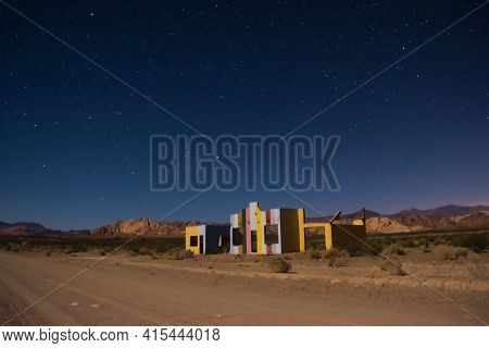Starry Night Sky Over A Derelict House In The Middle Of The Desert Near Uspallata, Mendoza, Argentin