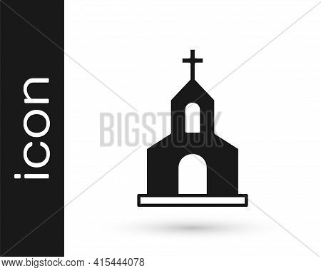 Black Church Building Icon Isolated On White Background. Christian Church. Religion Of Church. Vecto