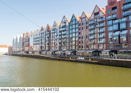 Gdansk, Poland - March 31, 2021: Riverbank Of Motlawa River In Old Town Of Gdansk.