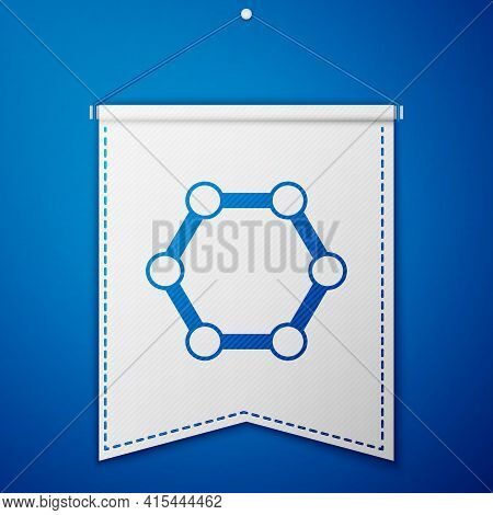 Blue Molecule Icon Isolated On Blue Background. Structure Of Molecules In Chemistry, Science Teacher