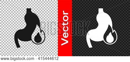 Black Stomach Heartburn Icon Isolated On Transparent Background. Stomach Burn. Gastritis And Acid Re