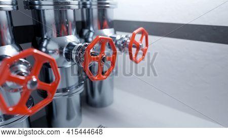 Red Industrial Valves On Stainless Steel Pipelines. Clean, Modern Industrial Background. Digital 3d