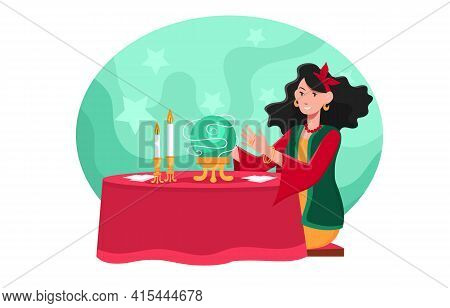 Gypsy Oracle. Mystic Ladies. Women Are Telling The Future By Seeing Crystal Ball And Cards. Flat Abs