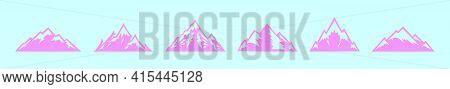 Set Of Matterhorn Cartoon Icon Design Template With Various Models. Modern Vector Illustration Isola