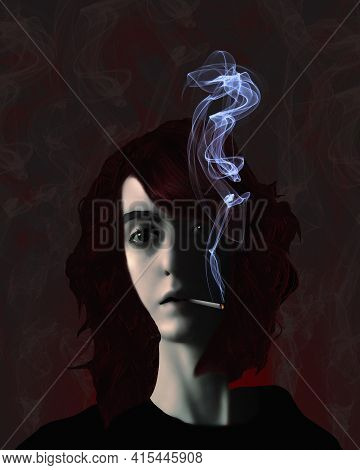 A Woman Is Seen Smoking A Cigarette With Smoke Wafting From The Cigarette. This Is A 3-d Illustratio