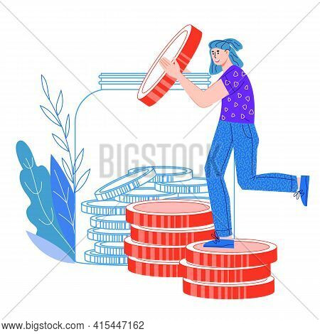 Concept Of Money Economy And Savings, Wealth And Budget Planning With Woman Putting Coins Into Jar,