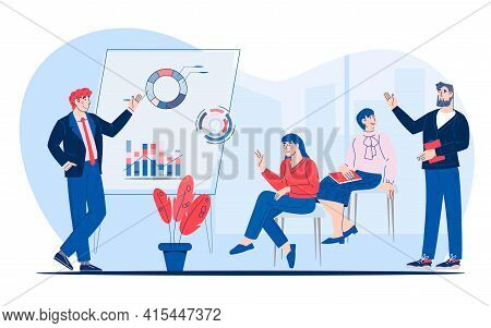 Business Seminar, Presentation Or Corporate Training Scene, Flat Vector Illustration Isolated On Whi