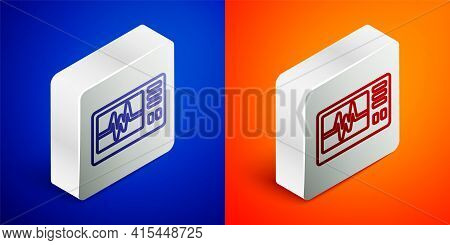 Isometric Line Computer Monitor With Cardiogram Icon Isolated On Blue And Orange Background. Monitor