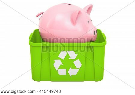 Recycling Trashcan With Piggy Bank. 3d Rendering Isolated On White Background
