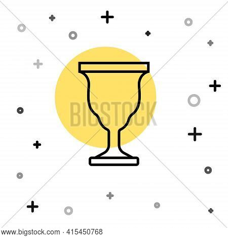 Black Line Christian Chalice Icon Isolated On White Background. Christianity Icon. Happy Easter. Ran