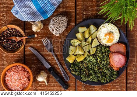 Traditional Czech Easter Food. Spinach With Potatoes And Fried Egg. Pork And Spinach. Spring Food. S