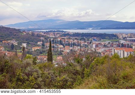Beautiful Spring Mediterranean Landscape On Cloudy Day. View Of Tivat City, Montenegro