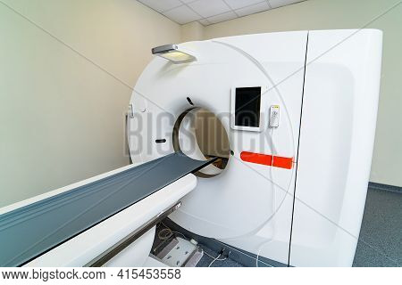 Mri Machine Is Ready To Research In A Hospital Room. Selective Focus On Medic Equipment. No People I