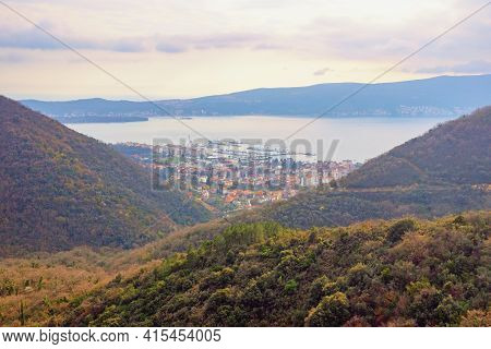 Beautiful Mountain Landscape. Calm Mediterranean Evening. Montenegro, View Of Kotor Bay And Tivat Ci