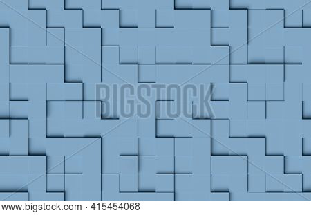 Seamless Abstract Pattern. Blue Cubic Shapes Background. 3d Illustration.