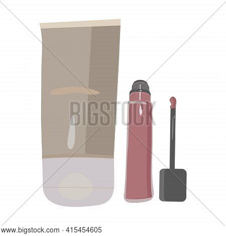 Foundation And Lip Gloss On A White Background